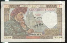Billet 50 Francs France Jacques Coeur 15-5-1941.A. - 1871-1952 Antichi Franchi Circolanti Nel XX Secolo