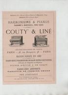 Publicité 1879 Couty Liné Harmoniums Et Pianos Paris - Publicités