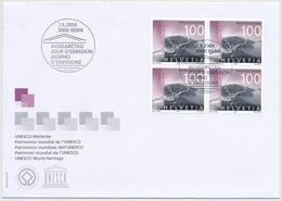 1137 / 1894 Vierer-Block FDC Monte San Giorgio - UNESCO Welterbe Der Schweiz - FDC