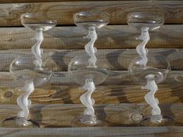 BAYEL COUPES REIMS HIPPOCAMPE.6 Glasses/Verres.CRISTALLERIE ROYALE DE CHAMPAGNE BAYEL.Vintage SEAHORSE Coupes! - Verre & Cristal