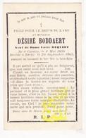 DP Im. Mort. FR Nord - Désiré Boddaert ° Caëstre Kaaster 1830 † Eecke Eke 1905 X Lucie DeQuidt - Images Religieuses