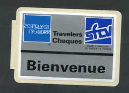"""Peu Courant ! Sticker Autocollant """"American Express / Travelers Cheques / Société Française Du Chèque De Voyage"""" - Cartes De Crédit (expiration Min. 10 Ans)"""