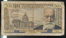 Billet 500 Francs France Victor Hugo 7-1-54.D - 1871-1952 Circulated During XXth