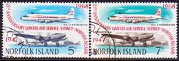 Norfolk Island 1968 SG 96-97 Compl.set Used QANTAS Air Service - Norfolk Island