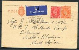 1942 GB Uprated Stationery Postcard. South Shields Airmail - RAF Hillside Camp, Bulawayo, Southern Rhodesia - 1902-1951 (Kings)