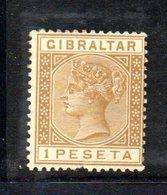 XP4523 - GIBILTERRA 1889 , 1 Peseta Unificato N. 28  Nuovo  *  (2380A) . Difettoso In Basso - Gibraltar
