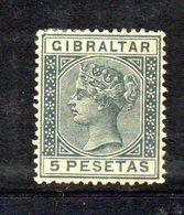XP4524 - GIBILTERRA 1889 , 5 Pesetas Unificato N. 29  Nuovo  *  (2380A) . - Gibraltar