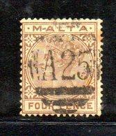 XP4525 - GIBILTERRA 1886 , 4 Pence Unificato N. 12  Usato (2380A) . - Gibilterra