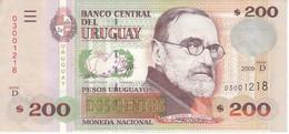 BILLETE DE URUGUAY DE 200 PESOS DEL AÑO 2009 EN CALIDAD EBC (XF) (BANKNOTE) - Uruguay