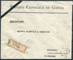 1931 Greece Athens Registered Bank Cover. Banque Centrale De Grece - Annaberg Germany - Covers & Documents