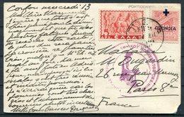 Greece Corfu Overprint Censor Postcard - Paris France - Greece