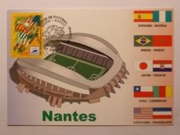 NANTES (44) - Stade, Carte Postale Avec Timbre France 98 Nantes (football) Et Cachet Match Brésil - Maroc - Football