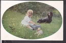 Künstlerpostkarte Grotemeyer , Mädchen , Dackel , Puppe - Illustrateurs & Photographes