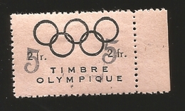 O) 1952 CIRCA-FRANCE, OLYMPIC RINGS ABOVE-FRENCH SWIMMING FEDERATION ORIGINALLY OVERPRINT 5fr-RAISE  FUNDS-1952 GAMES. X - France (former Colonies & Protectorates)
