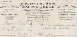 """Facture 1941 / Ernest FRIENTZ / Industrie Du Bois """" Sapin & Chêne""""/ Charpente à La Hache /Parquets / 88 Saint-Dié Vosges - France"""