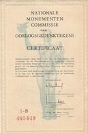Amsterdam - Certificaat Bouw Dam Monument - Vieux Papiers