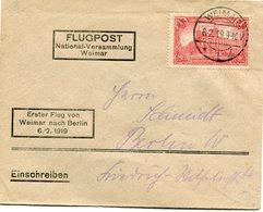 """SARRE LETTRE AVEC CACHET """" ERSTER FLUG VON WEIMAR NACH BERLIN 6./1919 """" DEPART WEIMAR 6-2-19 POUR L'ALLEMAGNE - Luchtpost"""