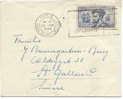 Jacques CARTIER  Maury N°297I, 1934, Seul Sur Lettre Pour St-Gall (Suisse), De Paris. - Postmark Collection (Covers)