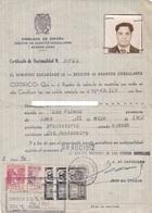 CERTIFICADO DE NACIONALIDAD. AÑO 1952. LAS PALMAS, GRAN CANARIA CON FISCALES - BLEUP - Documentos Históricos