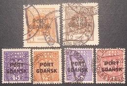 Poland - Port Gdansk 1925-1934 Group Of Stamps, Mi #1, 2, 20, 22, 26, 28, Used, CV EUR 31 - 1919-1939 Republic