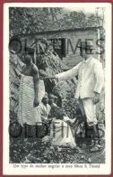 AFRICA - SAO TOME E PRINCIPE - COSTUMES - UM TIPO DE MULHER ANGOLAR E SEUS FILHOS - 1920 PC - Sao Tome And Principe