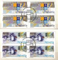 Zu 1220-1221 / Mi 1999-2000 / YT 1925-1926 Banque Nationale Suisse Billet Blocs De 4 Obl. 1er Jour SBK 36,- - Suisse