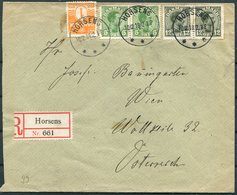1918 Denmark Horsens Registered Cover - Wien Austria. 35 Ore Rate Inc Pair Of 12ore Christian 10th (Facit 135) - 1913-47 (Christian X)