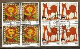 Zu 1233-1234 / Mi 2012-2013 / YT 1940-1941 Art Brut Blocs De 4 Obl. 1er Jour SBK 33,- - Suisse