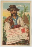 Chromo Grand Bazar De L'Ouest Et D'Amsterdam . Calendrier 1894 . Entier Postal Du Brésil . Philatélie . Imp. Brunswick . - Autres