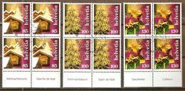 Zu 1254-1256 / Mi 2036-2038 / YT 1965-1967 Traditions De Noël Blocs De 4 Avec TAB Obl. 1er Jour SBK 37,- + - Suisse