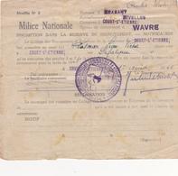 Armée Belge  Milice Nationale - Vieux Papiers