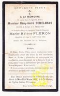 DP Im. Mort. 2p - Remy A. Bemelmans & Marie H. Fléron ° Liège 1900 - Images Religieuses