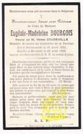 DP Im. Mort. FR Nord - Eugenie M. Bourgois ° Steenvoorde 1834 † Herzeele 1923 X Henri Coudeville - Images Religieuses
