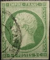 FRANCE Y&T N°12 Napoléon 5c Vert. Oblitéré CàD Paris - 1853-1860 Napoleon III