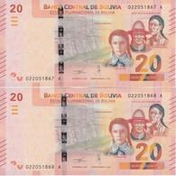 PAREJA CORRELATIVA DE BOLIVIA DE 20 BOLIVIANOS DEL AÑO 2018 SIN CIRCULAR-UNCIRCULATED (BANKNOTE) COCODRILO - Bolivia