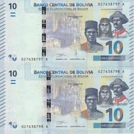 PAREJA CORRELATIVA DE BOLIVIA DE 10 BOLIVIANOS DEL AÑO 2018 SIN CIRCULAR-UNCIRCULATED (BANKNOTE) COLIBRI - Bolivia