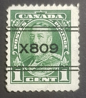 1935, King George V, Surcharged X 809, Canada, Used - 1911-1935 Règne De George V