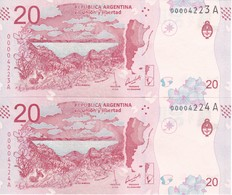 PAREJA CORRELATIVA DE ARGENTINA DE 20 PESOS DE UNA LLAMA SIN CIRCULAR - UNCIRCULATED (BANKNOTE) - Argentina