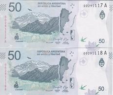 PAREJA CORRELATIVA DE ARGENTINA DE 50 PESOS DE UN CONDOR SIN CIRCULAR - UNCIRCULATED (BANKNOTE) - Argentina