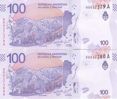PAREJA CORRELATIVA DE ARGENTINA DE 100 PESOS DE UN CIERVO SIN CIRCULAR - UNCIRCULATED (BANKNOTE) - Argentina