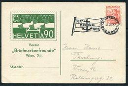 1937 Austria Budapest DDSG Centenary Schiffspost Postcard - 1918-1945 1st Republic