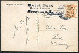 1929 Austria Bregenz Bodensee Postcard Lindau - Lorch. Hotel Post, Schiffspost Ship - 1918-1945 1st Republic