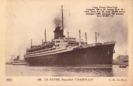 """PAQUEBOT : """" CHAMPLAIN """" à LE HAVRE [ LE HAVRE - NEW YORK ] - ANNÉE / YEAR ~ 1930 - '935 (aa844) - Paquebots"""