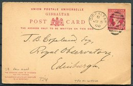 1900 Gibralar Reply Stationery Royal Hotel - Royal Observatory, Edinburgh. Edinburgh & Newcastle Sorting Tender TPO - Gibraltar