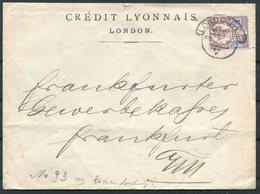 1895 GB Credit Lyonnais Bank London Perfin Cover - Frankfurt Germany - 1840-1901 (Victoria)