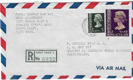 HONG KONG 1974 Registered Cover Posted 2 Stamps  COVER USED - Hong Kong (...-1997)
