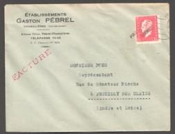 Facture De Chamalière Dulac 1,50fr Yv 691 Seul  Oblitération Linéaire PREUILLY SUR CLAISE - 1944-45 Maríanne De Dulac