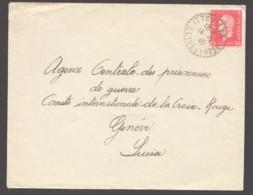 1945 LETTRE DE ITTEVILLE Pour La Suisse  Yv 691 Seul  Sous-affranchie - 1944-45 Maríanne De Dulac