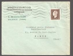 1945 Lettre De Valence Pour Nimes  Dulac 2fr Yv 692 Seul - 1944-45 Maríanne De Dulac