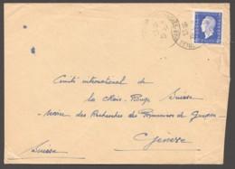 1945 Lettre Pour La Suisse  Dulac 4fr Yv 695 Seul - 1944-45 Maríanne De Dulac